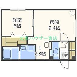 札幌市営南北線 麻生駅 徒歩12分の賃貸マンション 2階1LDKの間取り