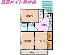 三重県津市香良洲町の賃貸アパートの間取り