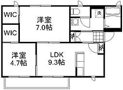岡山県岡山市中区海吉の賃貸アパートの間取り