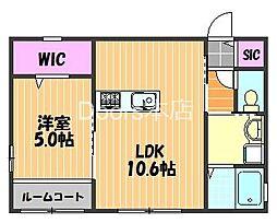 ジラソーレ 2階1LDKの間取り
