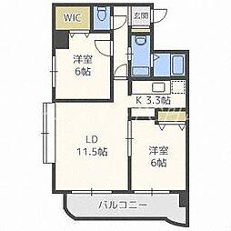 北海道札幌市中央区南五条西26丁目の賃貸マンションの間取り