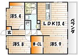 福岡県北九州市小倉南区沼新町1丁目の賃貸マンションの間取り