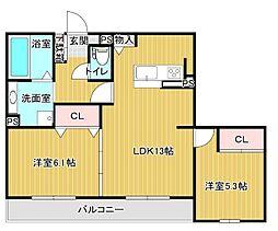 東二見D-room(池ノ上) 2階2LDKの間取り