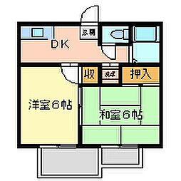 兵庫県尼崎市南塚口町8丁目の賃貸アパートの間取り
