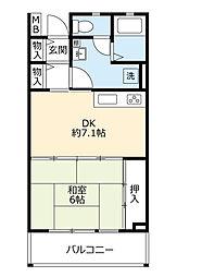 UR高槻・阿武山八番街 1階1DKの間取り