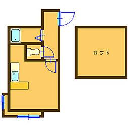 ラヴィアンI 2階ワンルームの間取り