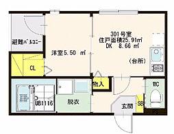 仮)ハーモニーテラス・東大阪瓜生堂2丁目・SKHコーポ[3階]の間取り