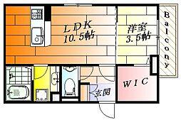 ル・リアン1番館 1階1LDKの間取り