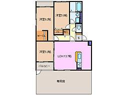 三重県四日市市松本1丁目の賃貸マンションの間取り