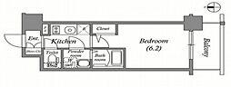 エスリード難波ザ・メゾン 6階1Kの間取り
