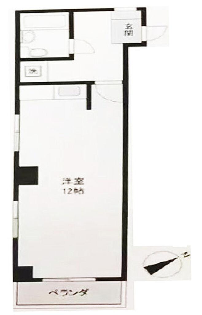 間取り(ワンルーム、32.80m2、南東向き角部屋、2面採光)