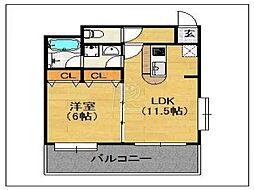 ルピエ舞鶴[602号室]の間取り