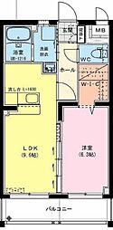(仮)神宮東2丁目マンション 2階1LDKの間取り