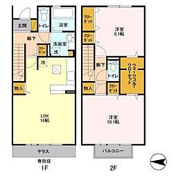 [タウンハウス] 茨城県つくば市上野春風台 の賃貸【茨城県 / つくば市】の間取り