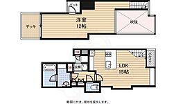 阪神なんば線 桜川駅 徒歩4分の賃貸マンション 5階1LDKの間取り