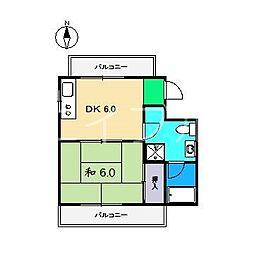 コーポすずき3 B棟[5階]の間取り