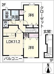 モデルノ・デーアA[2階]の間取り