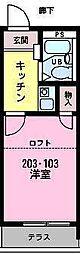 カーサ東中沢[203号室]の間取り