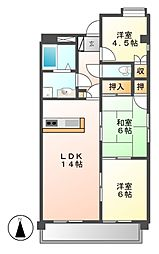 愛知県名古屋市名東区名東本通4丁目の賃貸マンションの間取り