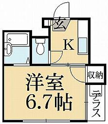 京都府京都市北区西賀茂中川上町の賃貸マンションの間取り