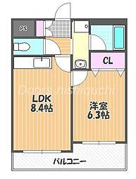 JR山陽本線 西川原駅 徒歩5分の賃貸マンション 2階1LDKの間取り
