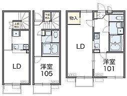 近鉄南大阪線 河内松原駅 徒歩22分の賃貸アパート 2階1LDKの間取り
