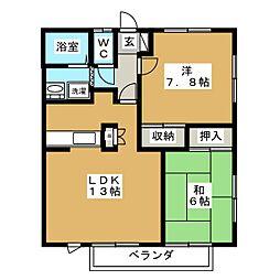 クレスト南仙台I[2階]の間取り
