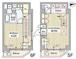 東京メトロ銀座線 末広町駅 徒歩2分の賃貸マンション 5階1LDKの間取り