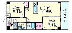 JR東海道・山陽本線 JR総持寺駅 徒歩19分の賃貸マンション 5階2LDKの間取り