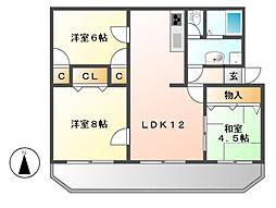 愛知県名古屋市名東区亀の井2丁目の賃貸アパートの間取り