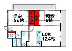 福岡県福岡市東区下原2丁目の賃貸アパートの間取り