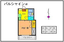 群馬県太田市本町の賃貸アパートの間取り