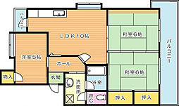 ハイランドマンション千代ヶ崎[2階]の間取り