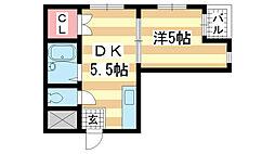 兵庫県神戸市長田区腕塚町9丁目の賃貸マンションの間取り