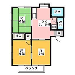 アクツハイツC[2階]の間取り
