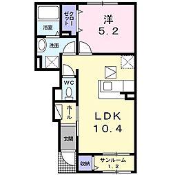 上田電鉄別所線 赤坂上駅 徒歩9分の賃貸アパート 1階1LDKの間取り