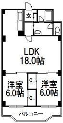 二十四軒パークマンション[508号室]の間取り
