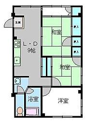 福岡県福岡市中央区御所ケ谷の賃貸マンションの間取り