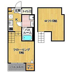 香椎エリア 新築アパート[2階]の間取り