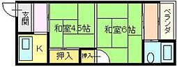 大阪府堺市堺区松屋大和川通1丁の賃貸マンションの間取り
