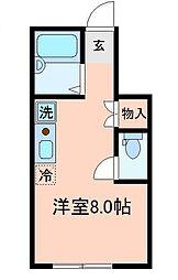 埼玉県川越市六軒町2丁目の賃貸アパートの間取り