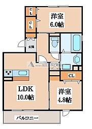 グレース D棟[2階]の間取り