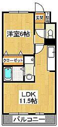 千葉県市川市二俣2丁目の賃貸アパートの間取り