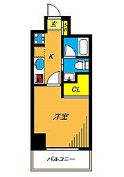 旗の台アパートメント 5階1Kの間取り