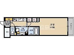 JR東西線 北新地駅 徒歩3分の賃貸マンション 14階1Kの間取り