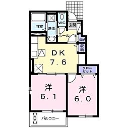 岡山県赤磐市桜が丘東1の賃貸アパートの間取り