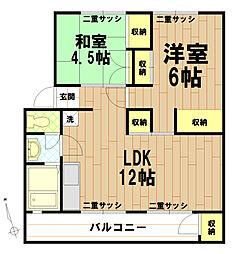 日野新坂下住宅4号棟[503号室]の間取り