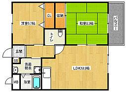 JR東海道・山陽本線 山崎駅 徒歩26分の賃貸マンション 1階2LDKの間取り