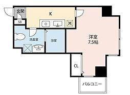 Osaka Metro中央線 九条駅 徒歩4分の賃貸マンション 10階1Kの間取り