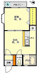 東京都世田谷区北沢4丁目の賃貸アパートの間取り